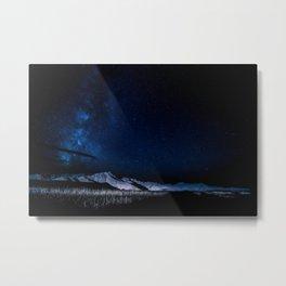Milky Way Night Mountain Landscape Metal Print
