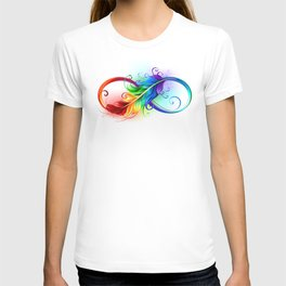 Infinity Symbol with Rainbow Feather T-shirt