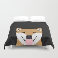 shiba inu Duvet Covers featuring Indiana - Shiba Inu gift design for dog lovers and dog people by PetFriendly