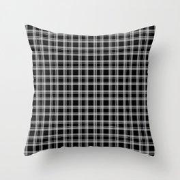 Black and white tartan plaid . Throw Pillow