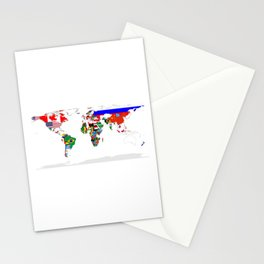 World Map with Country Flags Stationery Cards