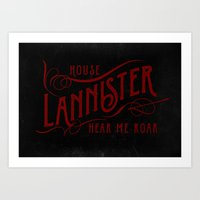 lannister Art Prints featuring House Lannister Typography by P3RF3KT