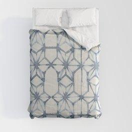 Simply Shibori Stars in Indigo Blue on Lunar Gray Comforters