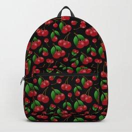Sweet red cherries pattern on black Backpack