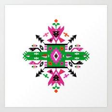 Fuchsia and Green Ethnic Aztec Ornament Art Print