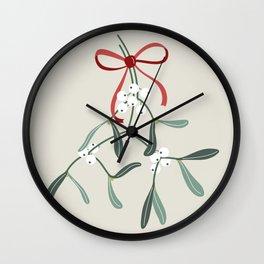 Christmas Mistletoe Wall Clock