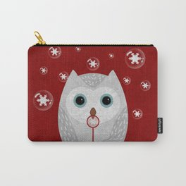 Christmas Owl Red Marble Carry-All Pouch
