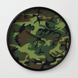 Green Camouflage Wall Clock