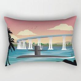 San Diego, CA - Retro Submarine Travel Poster Rectangular Pillow