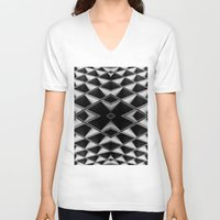 grid V-neck T-shirts featuring Grid by blurdvizionz
