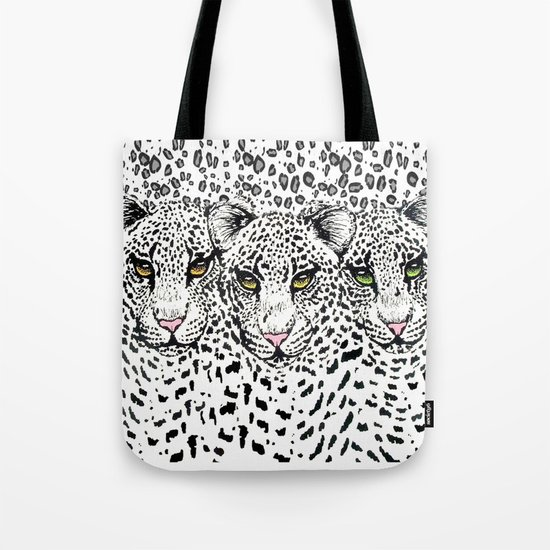 THREE SNOW LEOPARDS Tote Bag