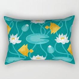 Tangram goldfish and water lillies Rectangular Pillow