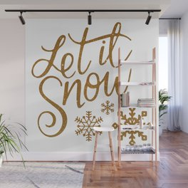 Let It Snow Gold Glitter (Color) Wall Mural