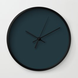 Sherwin Williams Trending Colors of 2019 Dark Night (Dark Aqua Blue) SW 6237 Solid Color Wall Clock