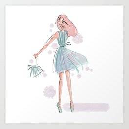 Green Fringe Dress Illustration Art Print