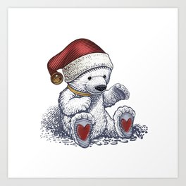 Polar Bear Loves Christmas Art Print