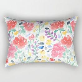 Watercolor Painted Garden Floral Rectangular Pillow