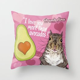Little Thumbelina Girl: I Love You More Than Avocados! Throw Pillow