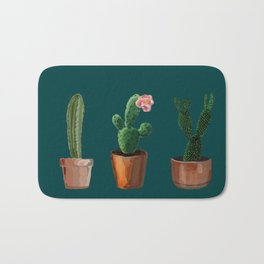 Three Cacti On Green Background Bath Mat