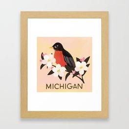 Michigan State Bird and Flower Framed Art Print