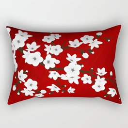 Red Black And White Cherry Blossoms Rectangular Pillow