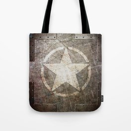Army Star on Distressed Riveted Metal Door Tote Bag