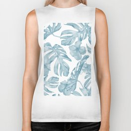 Gorgeous Blue Tropical Leaves + Flowers Biker Tank