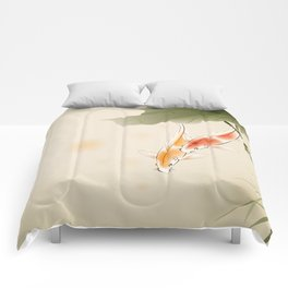 Koi fishes in lotus pond Comforters