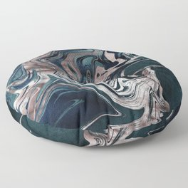 Marble Paint Swirl Trendy Abstract Glitter Rose Gold Pink Teal Turquoise II Floor Pillow