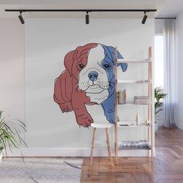 English Bulldog Puppy (red/white/blue) Wall Mural