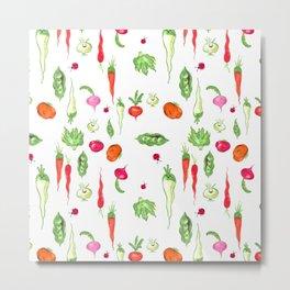 Veggie Party Pattern Metal Print