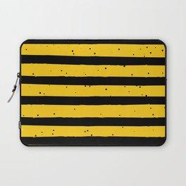 Black Yellow Vintage Stripes Pattern Laptop Sleeve