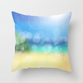 Bokeh Beach Summer Sun Wellness Throw Pillow