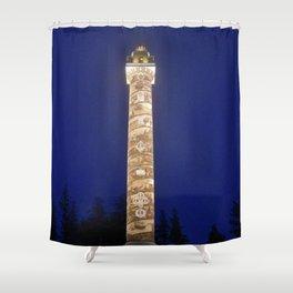 Astoria Column, blue hour fog Shower Curtain