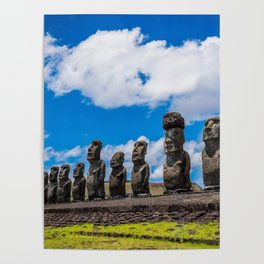 Moai Monolithics on Easter Island Poster