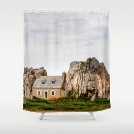 House between rocks in Brittany, Castel Meur Shower Curtain