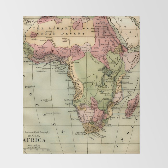 Vintage Africa Map Throw Blanket by mapmaker Society6