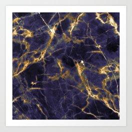 Majesty Purple Marble With 24-Karat Gold Hue Veins Art Print