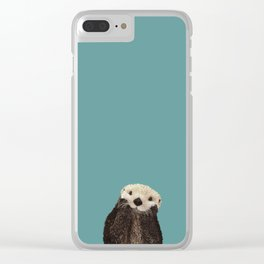 Cute Sea Otter on Teal Solid. Minimalist. Costal. Adorable. Clear iPhone Case