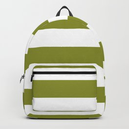 Dark Pastel Green Pepper Stem and White Wide Horizontal Cabana Tent Stripe Backpack