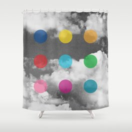 Storm Clouds + Colored Dots Shower Curtain