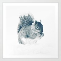 squirrel Art Prints featuring squirrel by Peg Essert