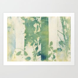 Leaves and Layers Cyanotype Art Print