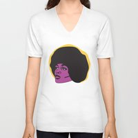 miles davis V-neck T-shirts featuring Ms. Davis by Grace Teaney Art