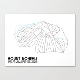 Mount Bohemia, MI - Minimalist Trail Art Canvas Print