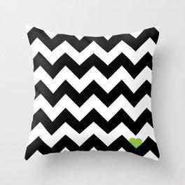 Heart & Chevron - Black/Green Throw Pillow