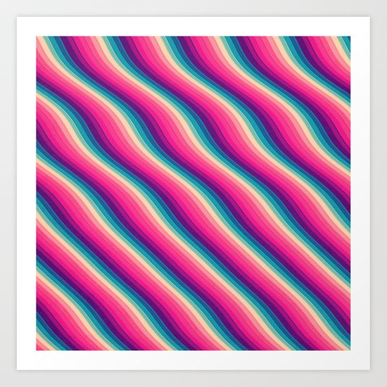 Abstract Color Burn Pattern - Geometric Lines / Optical Illusion in Rainbow Acid Colors Art Print