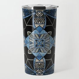 blue symmetric fantasy pattern IV Travel Mug