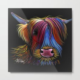 Scottish Highland Cow ' PoDGER ' by Shirley MacArthur Metal Print