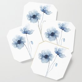 Blue Watercolor Poppies Coaster